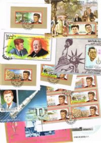 10 different John F Kennedy miniature sheets packet